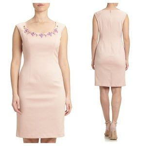 ADRIANNA PAPELL Beaded Neck Dress Parchment Pink